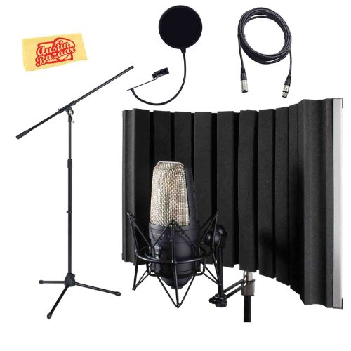 Cad As22 Acousti-Shield 16-Gauge Foldable Stand Mounted Acoustic Enclosure Bundle With Mic Stand, Mic Cable, Pop Filter, And Polishing Cloth