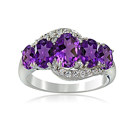 Sterling Silver African Amethyst February Birthstone & White Topaz  Ring