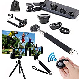 Bluetooth Camera Shutter, Selfie Stick, Tripod, Lens for iPhone 6 Plus Samsung Galaxy S7 Edge Plus Note 7/5 Nexus 5x 6P,EEEKit Selfie Accessory Kit