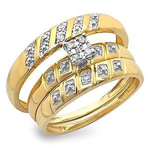 0.08 Carat (ctw) 10K Yellow Gold Round White Diamond Men & Women's Bridal Trio Set (Size 10)