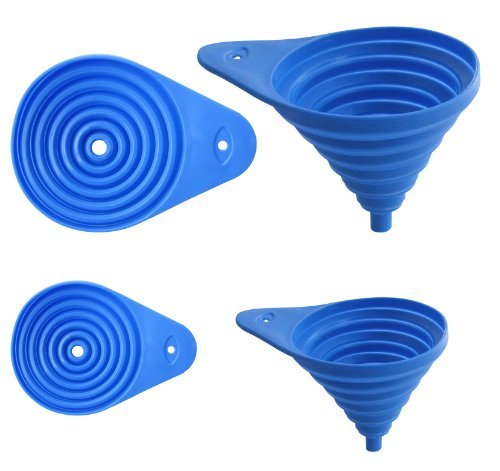 "Set Of 2 Flexible Collapsible Funnel Set, Assorted Sizes 3"" And 5"""