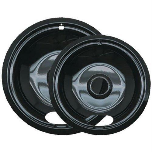 Range Kleen P12782Xcd5 Style A Black Porcelain Drip Pans, 2-Pack