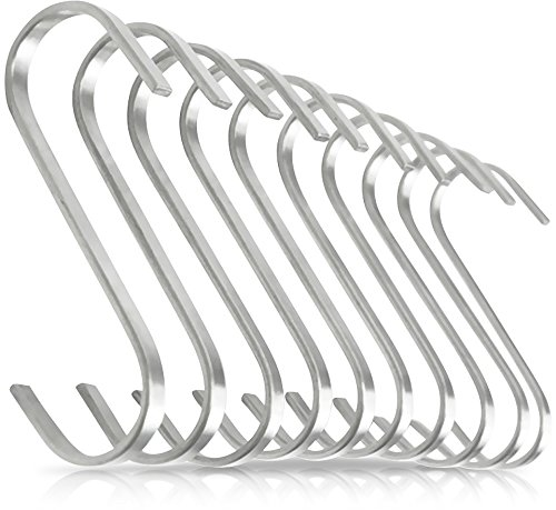 Pro Chef Kitchen Tools Premium Flat S Shaped Hooks in 10 Pack Brushed Stainless Steel Metal