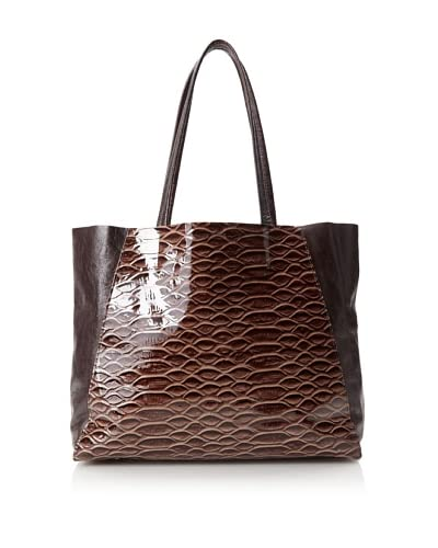 Streets Ahead Women's Classic Small Tote Bag, Patent Teak Snake/Dark Mahogany Leather, One Size
