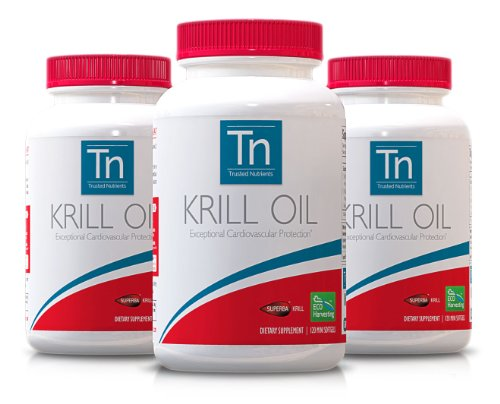 Trusted Nutrients 100% Pure Superba Krill Oil With Astaxanthin: 1000Mg Per Serving, 3X 120 Tiny Red Softgels, Gps Traceability, Gmo Free, Eco-Harvested