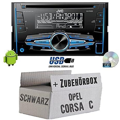 OPEL CORSA C Noir-JVC KW R520E-Autoradio 2DIN Kit de montage encastré -