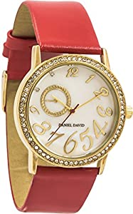 Daniel David Women's | Mother of Pearl Crystal Studded Red Leather Watch | DD13103