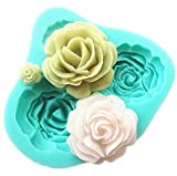 Pard 4 Size Roses Flower Silicone Cake Mold Chocolate Sugarcraft Decorating Fondant Fimo Tool, Blue