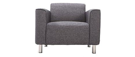 Miliboo - Sillón diseño contemporáneo tejido gris oscuro MOOJIK