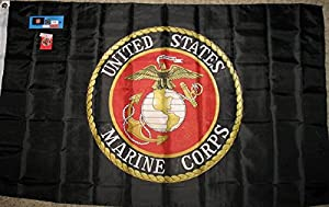 Black USMC 3'x5' Double Sided Polyester Flag With Lapel Pin - Licensed