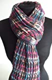 Multicoloured Crinkle Effect Warm Scarf (#280)(Circles Pattern on Light Grey base)