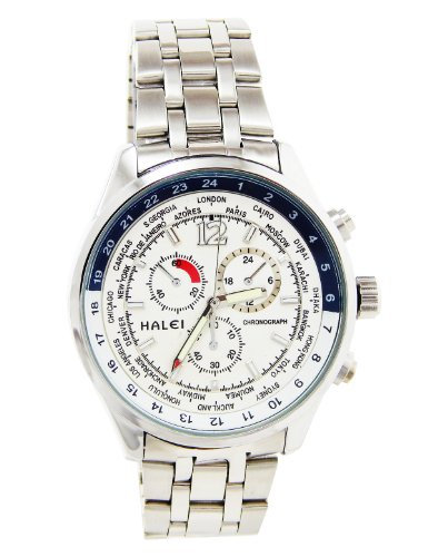 Halei-Men Quartz Watch With White Circle Dial Analogue Display And Transparent- Ea3025M-S6