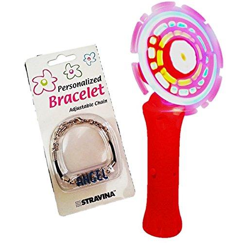 2 Pc. LED Light up Spectra Spinner Wand Long Lasting Bright Lights & 2 Pc. Assorted Love Bracelet for Girls (Orange)