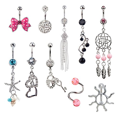 Jewelry Set of 10pcs 14 Gauge 316L Surgical Steel Belly Rings Navel Belly Button Piercings Bananabells Curved Barbells With Different Pendants Decorations and Crystals Rhinestones (Belly Button Ring And Needle compare prices)