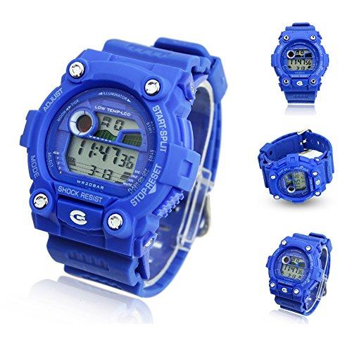 Estone® New Multi-Function Cool Sports Watch Led Analog Digital Alarm Waterproof (Blue)