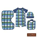 517v6p7hHGL. SL160  Preppy Baby Clothes Gift Set in Blue Argyle Size: 3 6 Months
