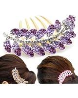 Pique à Cheveux Feuille Bijou Coulisse Strass Cristal Violet Vintage Mode par VAGA®