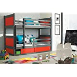 Etagenbett RICO 2 160/80 Farbe Graphit inkl. Matratzen + Lattenrost Massivholz Kiefernholz