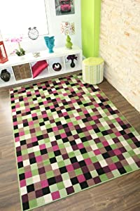 Milan Green, Pink, Black & Cream Squares Rug 1584-U12 - 4 Sizes from The Rug House