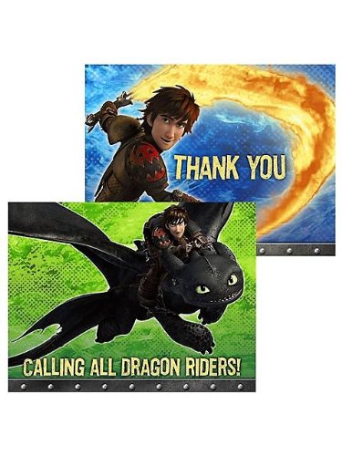 How to Train Your Dragon Invitation & Thank You (8 Pack)