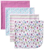 Gerber Baby-Girls Newborn 4 Pack Flannel Receiving Blanket - House