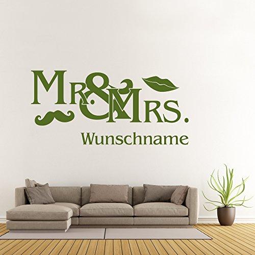 Wandtattoo Mr and Mrs Wunschname Hipster Ehepaar Wanddesign Wanddekoration Mund Bart Hochzeit Tattoo ca. 80 x 37 cm lindgrün