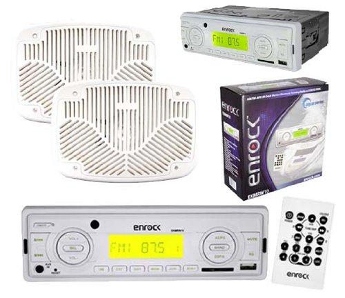New Enrock Ekmrw10 White Marine Radio Usb Aux Sd Player Pair 6X9 White Speakers