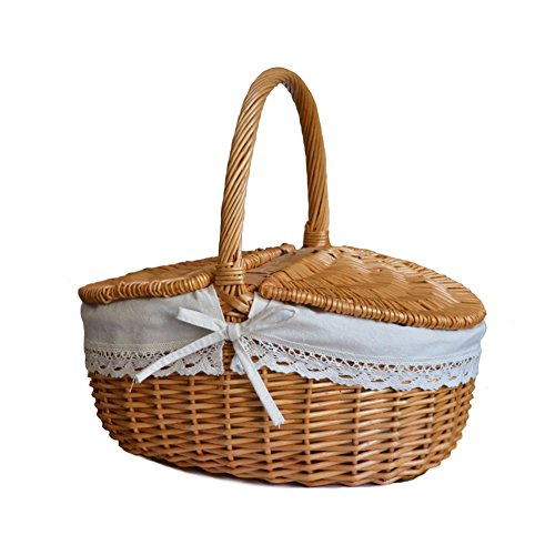 RURALITY Wicker Picnic Basket Hamper with Lid and Handle (Lined Wicker Basket With Lid compare prices)