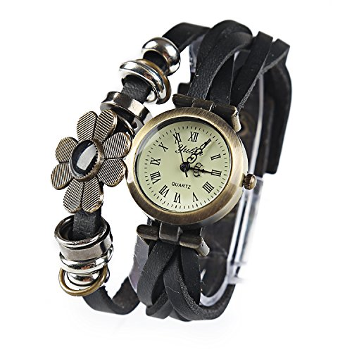 Dayan Flower Sense Retro Wrap Around Weave Leather Watch Bracelet Wrist Watch Wristband Black