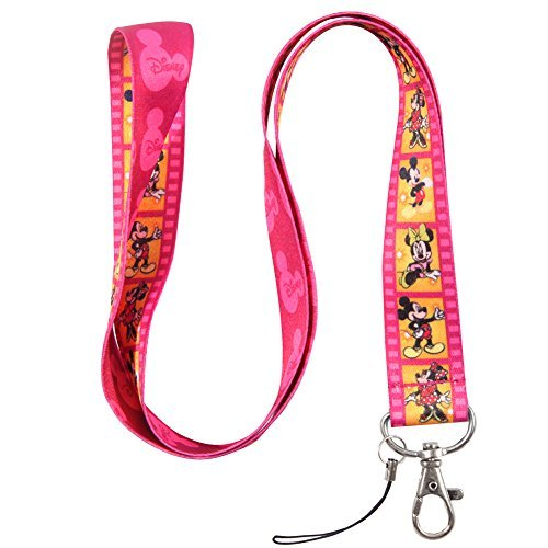 hot-pink-and-yellow-film-mouse-keychain-key-chain-lanyard-straps-with-mini-silver-steel-spring-clips