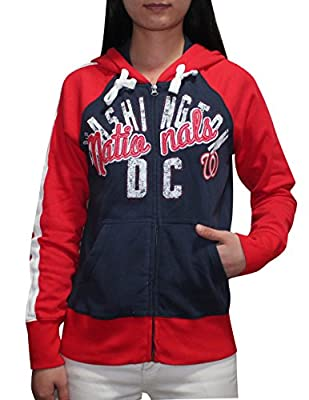 MLB WASHINGTON NATIONALS Womens Athletic Zip-Up Hoodie (Vintage Look)