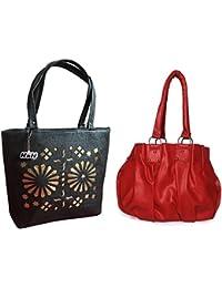 HnH Women HandBag Combo - Pretty Red + Blossom Black
