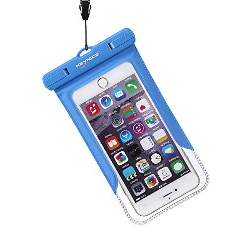 Keynice スマホ防水ケース iPhone 6 plus 6S 5S 大きめサイズ対応 防水保護等級IPX8取得 ストラップとアームバンド付 (ブルー)