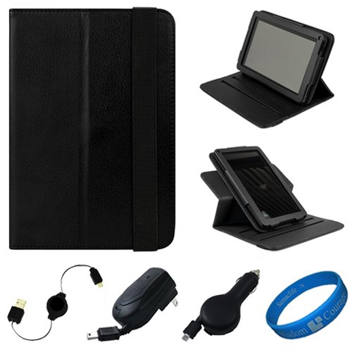 Black Textured Leather Folio Case Cover with Fold to Stand Feature for  Kindle Fire 7 LCD Display, Wi Fi, 8GB Android Tablet Designed for 2011 and 2012 Models + Black Retractable Micro USB Car Charger + Black Retractable Micro USB Wall / Home Charge