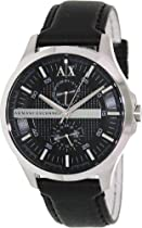 Armani Exchange AX Black Dial Black Leather Mens Watch AX2120