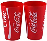 2 Coca Cola Drinking Beakers Cups Retro Coke Set