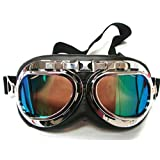 Oumers TMS WWII Raf Vintage Goggles, Aviator Pilot Style Motorcycle Cruiser Scooter Goggle, Bike Racer Touring Half Helmet Goggles, Cool MTB Bicycle Summer Winter Snowboard Windproof glasses colorful (Color: colorful)