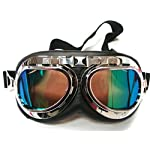 Oumers TMS WWII Raf Vintage Goggles, Aviator Pilot Style Motorcycle Cruiser Scooter Goggle, Bike Caf Racer Cruiser Touring Half Helmet Goggles, Cool MTB Bicycle Summer Winter Snowboard Windproof glasses