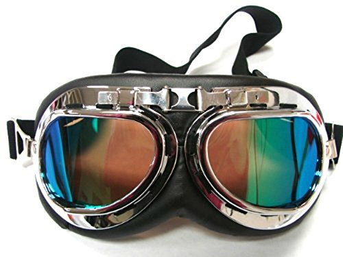 Oumers TMS WWII Raf Vintage Goggles, Aviator Pilot Style Motorcycle Cruiser Scooter Goggle, Bike Caf¨¦ Racer Cruiser Touring Half Helmet Goggles, Cool MTB Bicycle Summer Winter Snowboard Windproof glasses 0