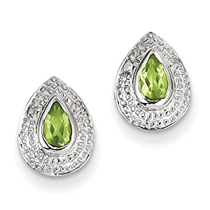 Genuine IceCarats Designer Jewelry Gift Sterling Silver Rhodium Peridot & Diamond Post Earrings In Sterling Silver