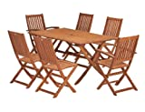 ScanCom Wiltshire FSC Eucalyptus Wood  Outdoor Dining Set, with Rectangular Table (7 Pieces)