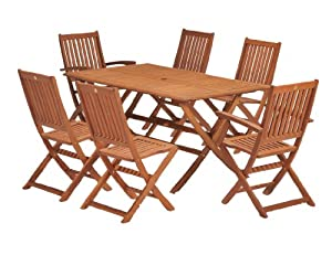 ScanCom Wiltshire FSC Eucalyptus Wood 6 Seater Outdoor Dining Set, with Rectangular Table