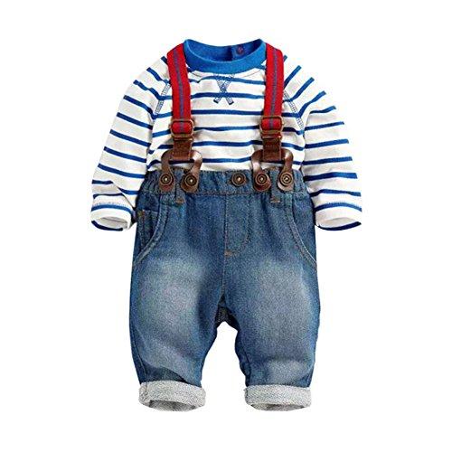 PanDaDa Baby Boys Pants Sets Striped T-shirt Top Jeans Bib Pants Overall Outfis