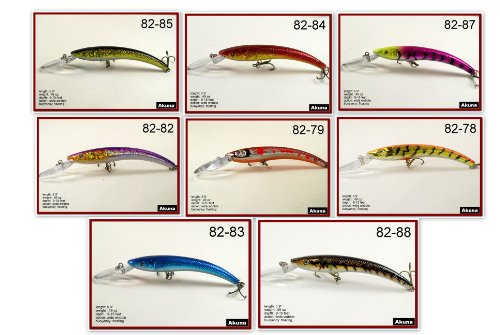 "Review Lot of 8 New Akuna 5.9"" Deep Diving Crankbait Fishing Lures for Pike & Bass & Salmon - A"