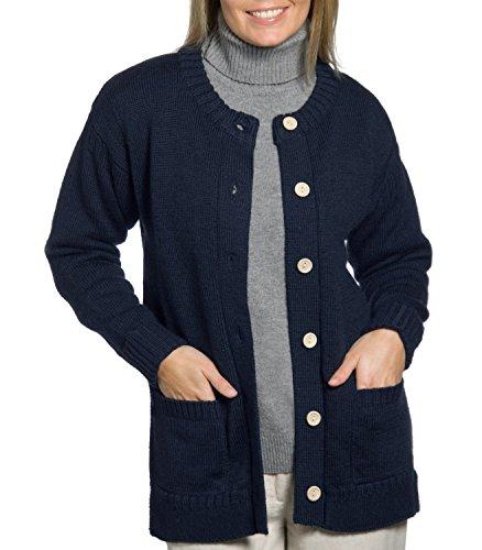 Wool Overs Women's British Wool Guernsey Cardigan Navy Medium (Wool Overs British Wool compare prices)