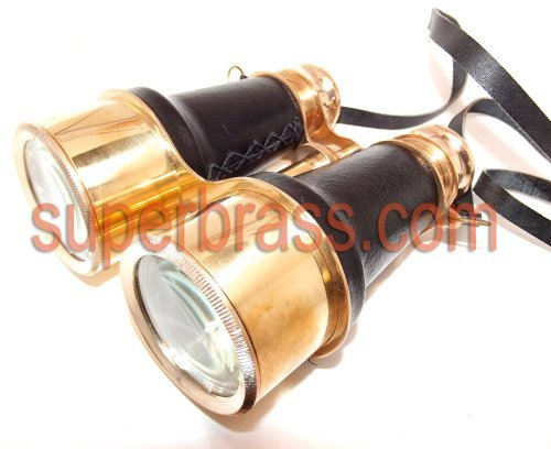 Stunning 6-Inch Antiquated Style Brass & Leather Binoculars / Opera Glasses. 4X Magnifcation.