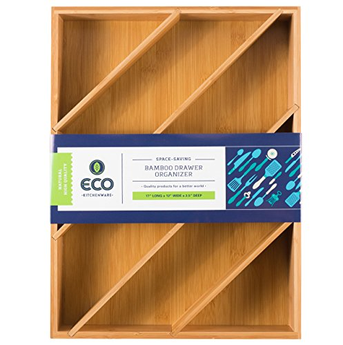 Diagonal Space Saving Bamboo Drawer and Cabinet Organizer Divider by Eco Kitchenware (Space Saving Bamboo Organizer compare prices)