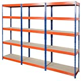3 x 120cm Wide Extra-Large Warehouse Steel Racking bays / Utility / Shed / Garage Storage System