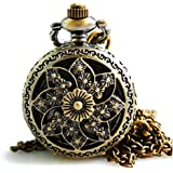 Tirio Bronze Skeleton Floral Quartz Pocket Watch Steampunk Watch Women Pendant Necklace with Chain and Gift Box