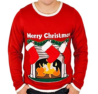 Ugly Christmas Sweater - Lighted LED Fireplace Sweater with 3-D Stockings in Red Small By Festified